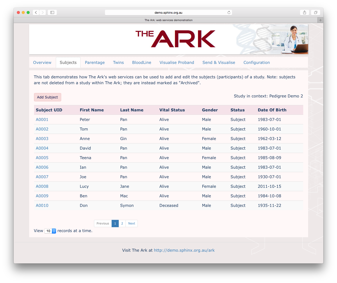 The Ark: web services demo